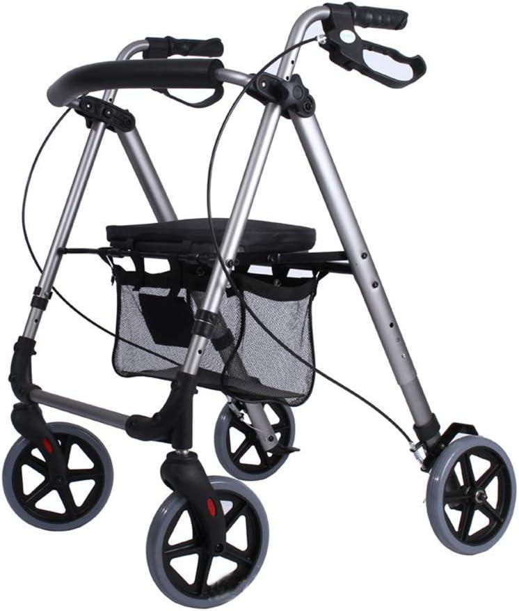 HJW Andador Ayuda para Caminar Carretilla Plegable de Aluminio de la Luz Walker 4 Ruedas Motorizados Del Carro Y el Respaldo Del Asiento