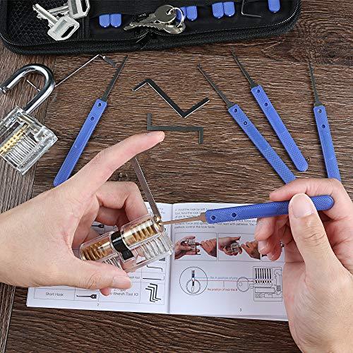 Extractor Tool f/ür Schlosserei Anf/änger und Profisrleicht IPSXP 17 St/ück Dietrich Set und 2 St/ück Transparent Training Schl/össern mit Ledertasche Lockpicking Set