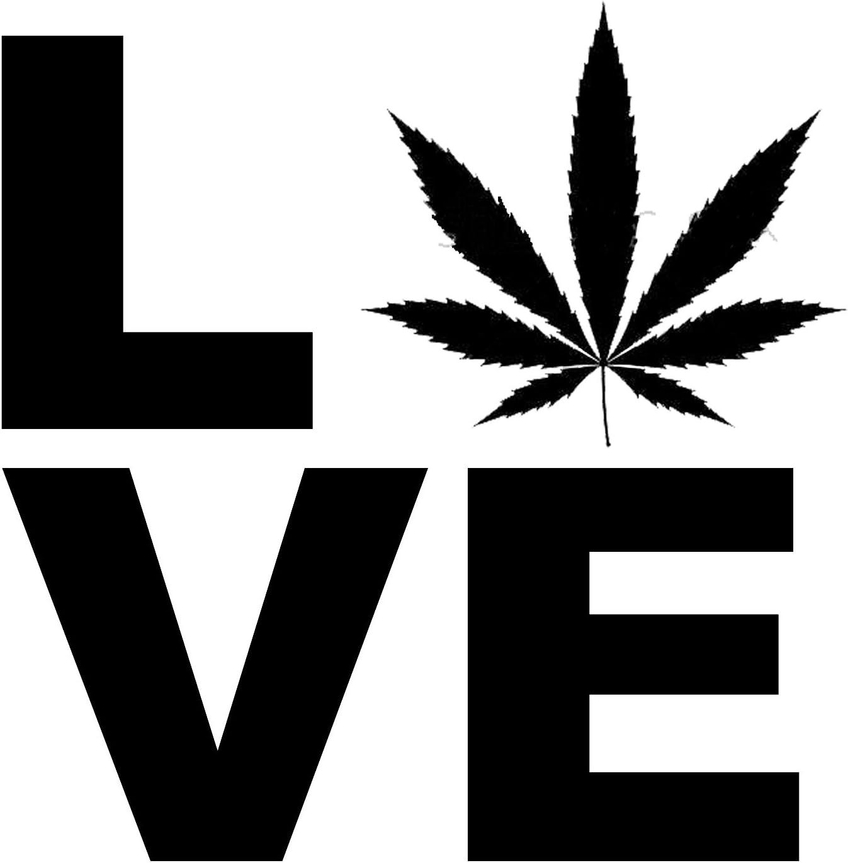 "5.75/"" I LOVE WEED vinyl decal sticker. pot marijuana"