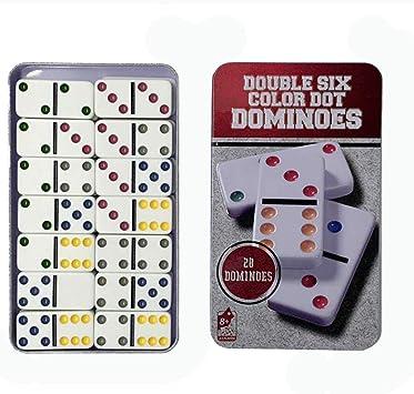Dominoes Juego de dominó de Doble 6 Colores, Juego de dominó, en Lata de coleccionistas, 28 dominó: Amazon.es: Juguetes y juegos