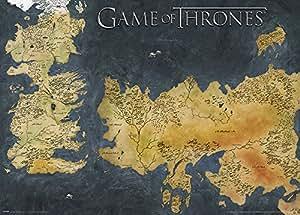Juego de tronos Westeros y Essos – cartel metálico de mapa antiguo, multicolor, 50 x 70 cm
