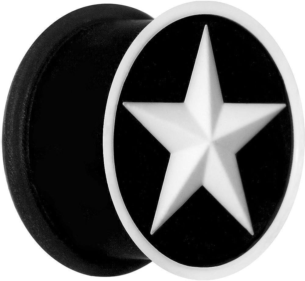 "Body Candy 5/8"" Black White Star Silicone Ear Gauge Plug (1 Piece)"