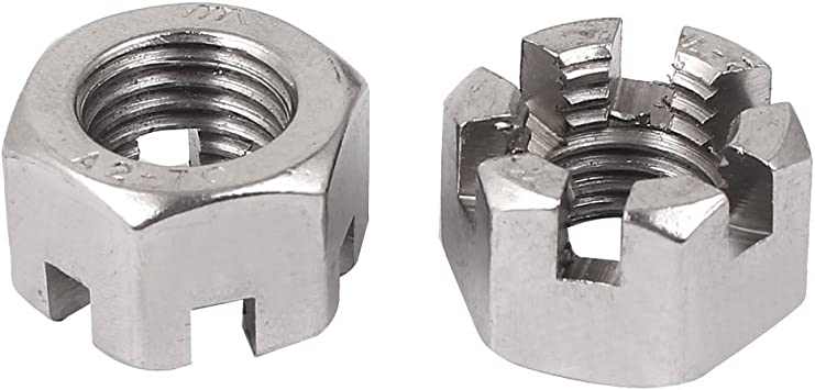 uxcell M14 x 2mm Pitch 304 Stainless Steel Slotted Hex Nuts Pack of 5