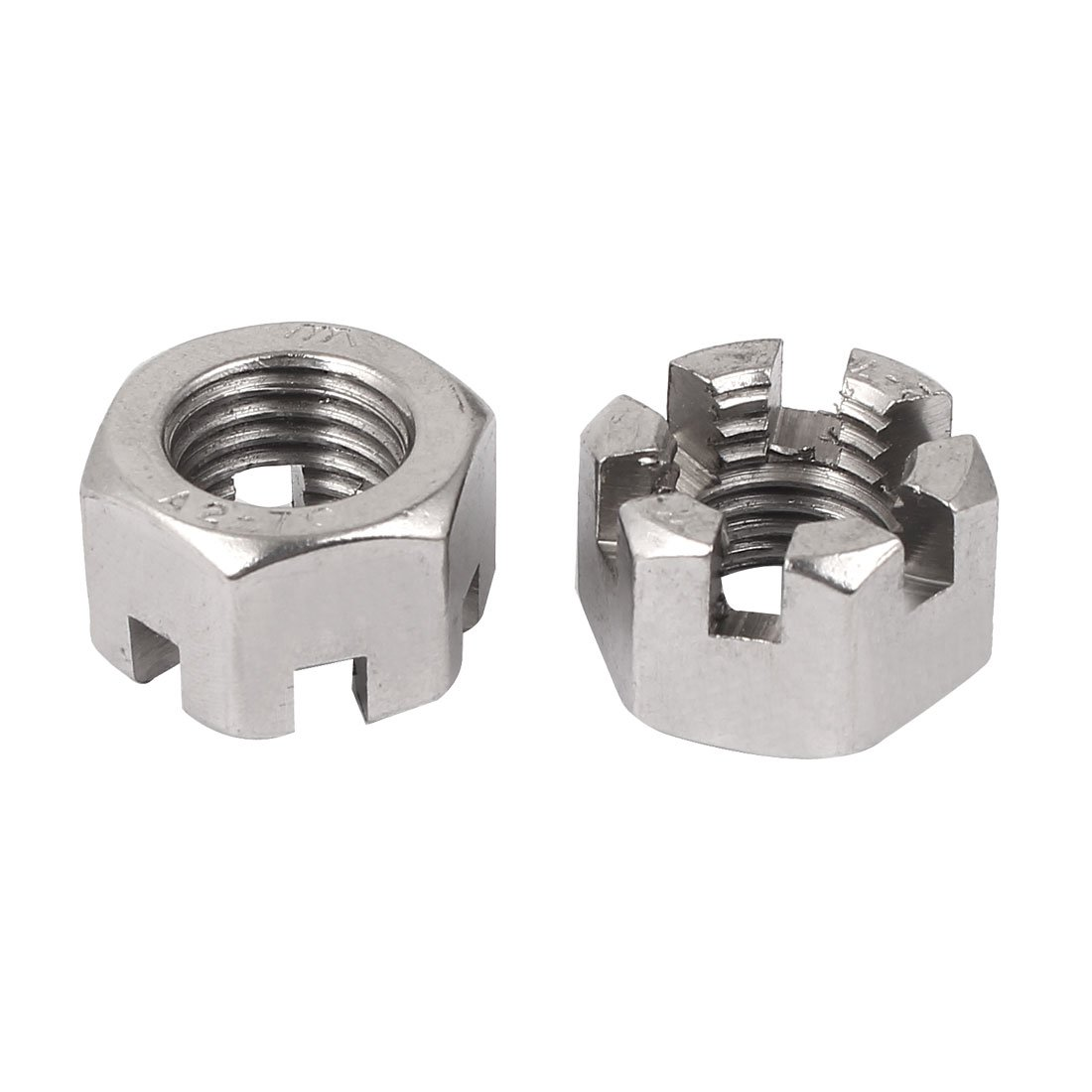 sourcing map M20 x 2.5mm Pitch 304 Stainless Steel Slotted Hex Nuts, Pack of 2