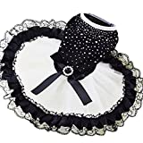 BUYITNOW Dog Party Lace Dress Summer Pet Bling Tutu Skirt for Small Dogs Girl Black