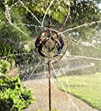 Outdoor Hydro-Ball Metal Garden Wind Spinner Sculpture with Water Sprinkler Feature - 18 Dia. x 89 H - Bronze Finish
