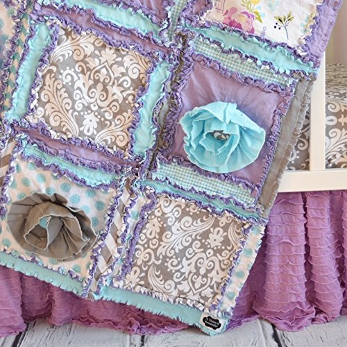 Floral Baby Girl Crib Set - Purple / Aqua / Gray by A Vision to Remember