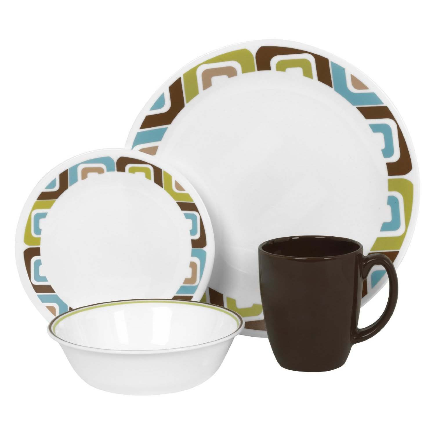 Corelle 16-Piece Vitrelle Glass Squared Chip and Break Resistant Dinner Set Service for 4 Brown/Blue//Green Amazon.co.uk Kitchen u0026 Home  sc 1 st  Amazon UK & Corelle 16-Piece Vitrelle Glass Squared Chip and Break Resistant ...