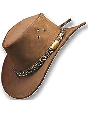 Oztrala~ Jacaru Hat Suede Leather Cowboy Men's Womens Childrens Kids Australian Outback Aussie Black Brown WS 1007 A