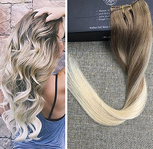 Full Shine 16 inch One Piece Ombre Straight Clip in Hair Extensions Real Human Hair Dip Dyed Hair Color #8 Fading to #60 50gram 3/4 Full Head Clip on Hair Extensions