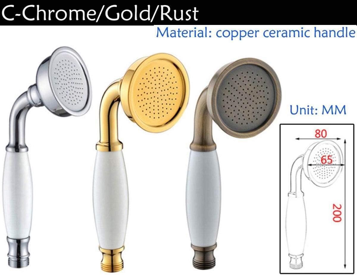 cromato Soffione doccia portatile in rame placcato oro in stile europeo antico a forma di C