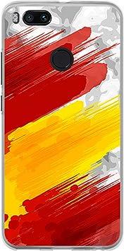 BJJ SHOP Funda Transparente para [ Xiaomi Mi A1 Mi 5X ], Carcasa de Silicona Flexible TPU, diseño: Bandera españa, Pintura de brocha Sobre Fondo Abstracto: Amazon.es: Electrónica