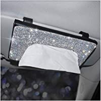 Pursuestar Black Leather Bling Crystal Diamond Sun Visor Tissue Box Napkin Holder Paper Case Car Decor Accessories for…