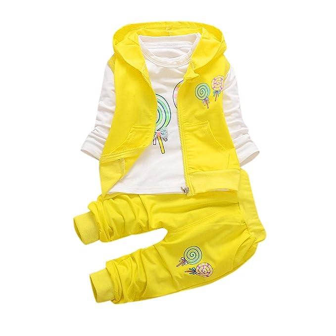 Fossen Bebe Niña Camiseta Mangas Largo de Lollipops y Pantalones con Chaleco de Cremallera 3 Piezas