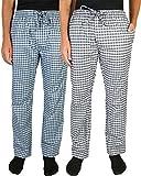 Beverly Hills Polo Club Men's Woven Plaid Sleep Lounge Pajama Pants (2-Pack), White & Navy/White & Blue, Medium (32-34)'