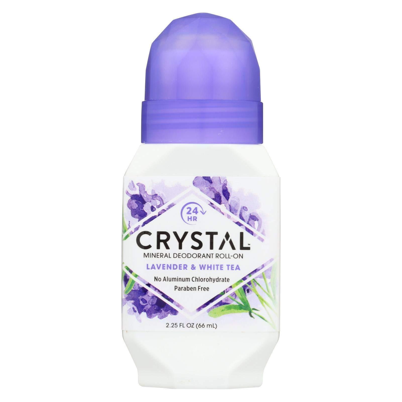 Crystal essence Deodorant Roll-On, Lavender and White Tea 2.25 fl. oz