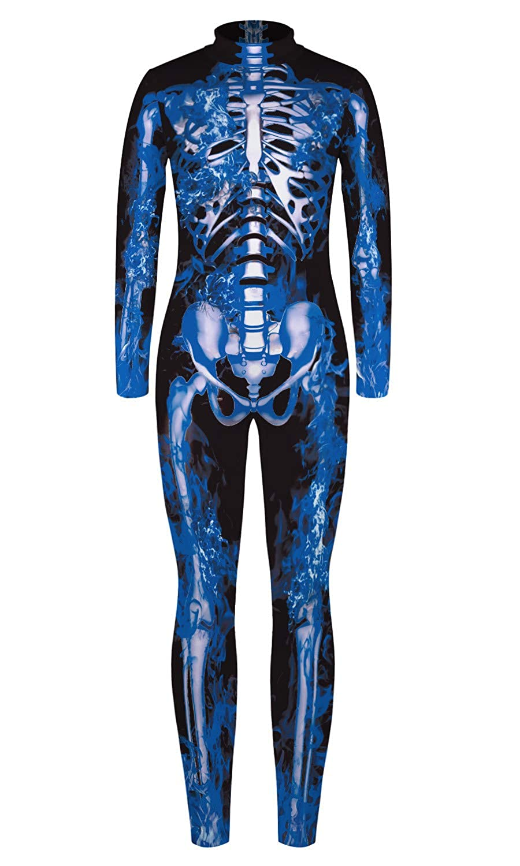 Honeystore Kids Skeleton Bodysuit Halloween Stretch One Piece Jumpsuit Costume