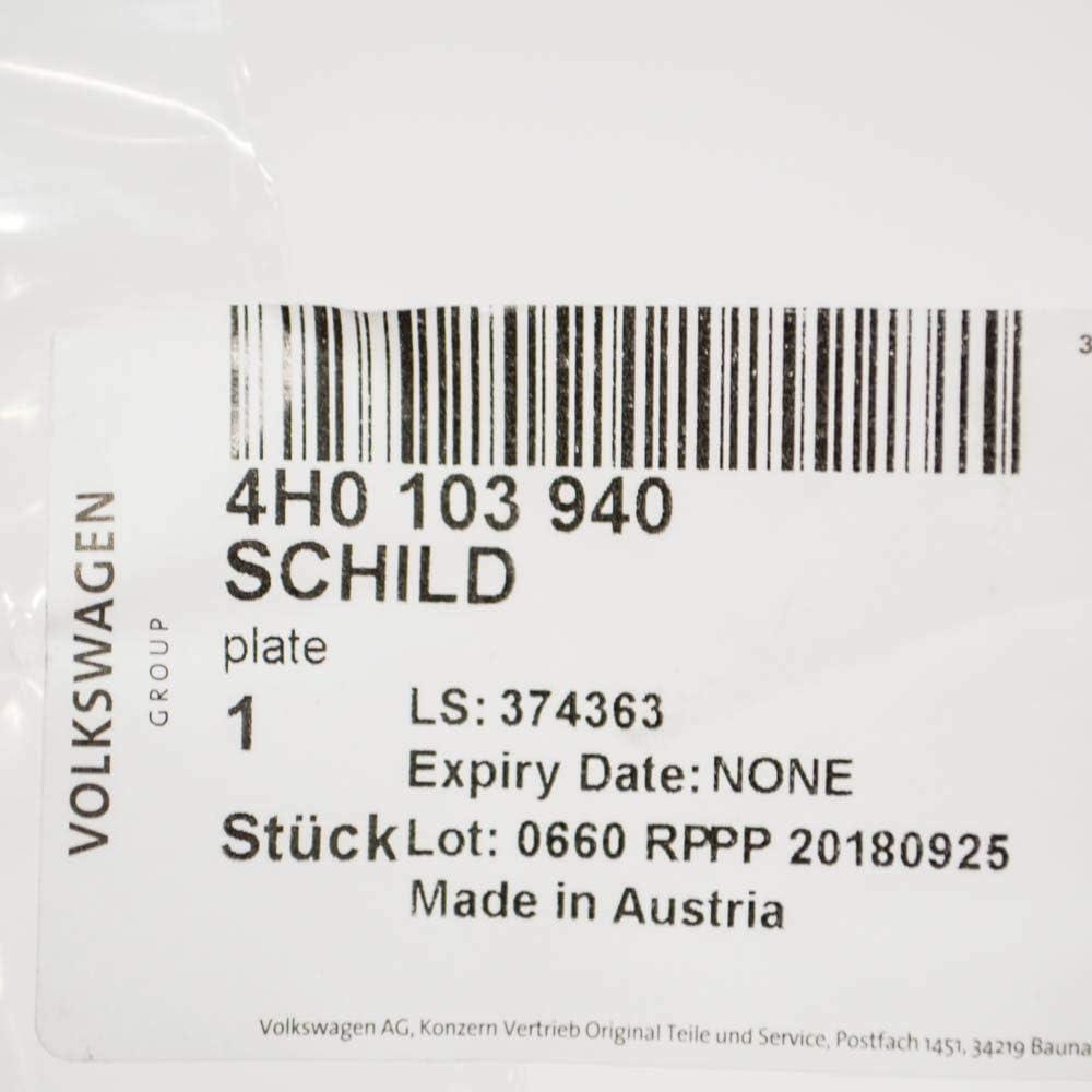 AUDI A6 A3 A4 A5 A7 A8 Q5 Q7 Engine Cover Emblem Badge 4H0103940 New Genuine