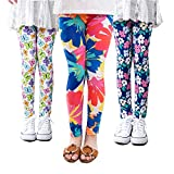 #6: Girls Leggings, FIOKASO 3 Packs Toddler Girls Pants Great Stretch Printing Flower for Kids