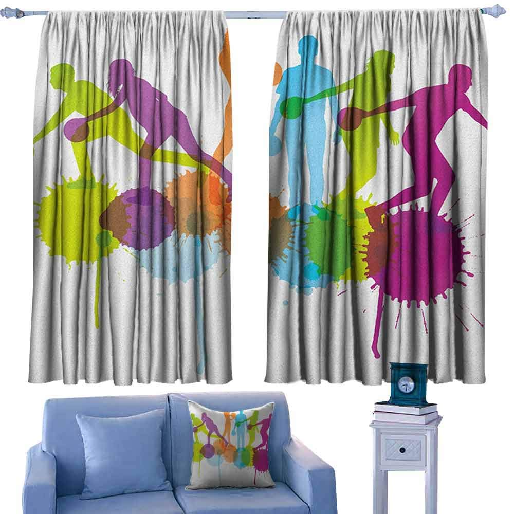ParadiseDecor Bowling Party Bocking Ight Rod Curtains Player Silhouettes Throwing Ball with Big Color Splatters Activity Fun Theme,for Baby Bedroom,W72 x L84 Inch by ParadiseDecor