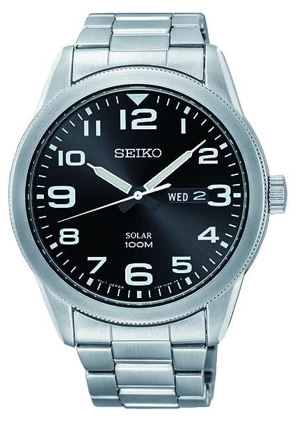 Seiko SNE471P1 - Reloj analógico de energía solar para hombre, con correa en acero inoxidable: Amazon.es: Relojes
