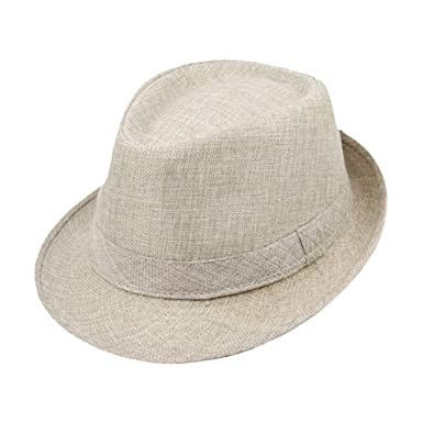 4d3cf336f6b Himozoo Women Men Straw Fedora Trilby Hat Summer Beach Panama Jazz Caps  (Beige)  Amazon.co.uk  Clothing