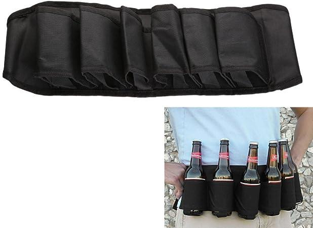 6 Pack Beer Soda Belt Drinks Beer Belt Holder Bottlr Carrier For Outdoor Camping Party - Black: Amazon.es: Hogar