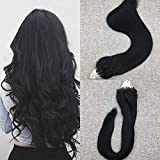 Moresoo Tipped Beads Human Hair Extensions 22 Inch Jet Black Brazilian Real Human Hair Extensions 1g/strand 50g Per Pack Micro Ring Hair Extensions