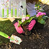 vanow Gardening Tool Set, 5 PCS Heavy Duty Aluminum Garden Hand Tools Kit, Floral Print Gardening Tools Gifts for Women with Pruning Shears Weeder Hand Rake Shovel Cultivator