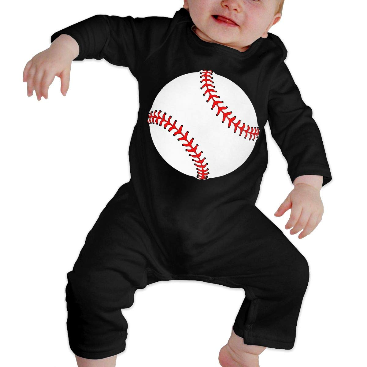 Long Sleeve Cotton Rompers for Baby Boys and Girls Soft Baseball Red Line Jumpsuit