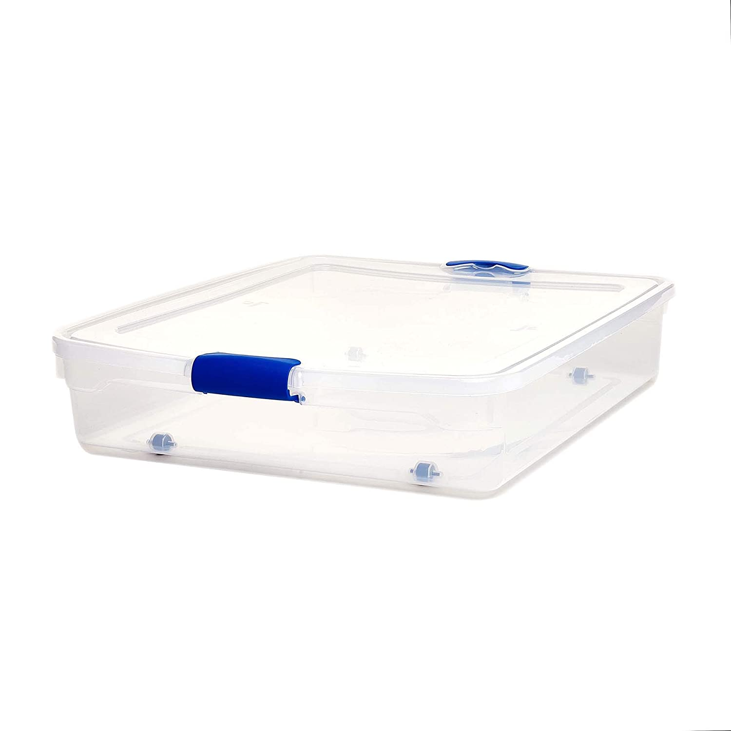 Homz Plastic Underbed Storage, Stackable Storage Bins with Blue Latching Handles, 56 Quart, Clear, 2-Pack