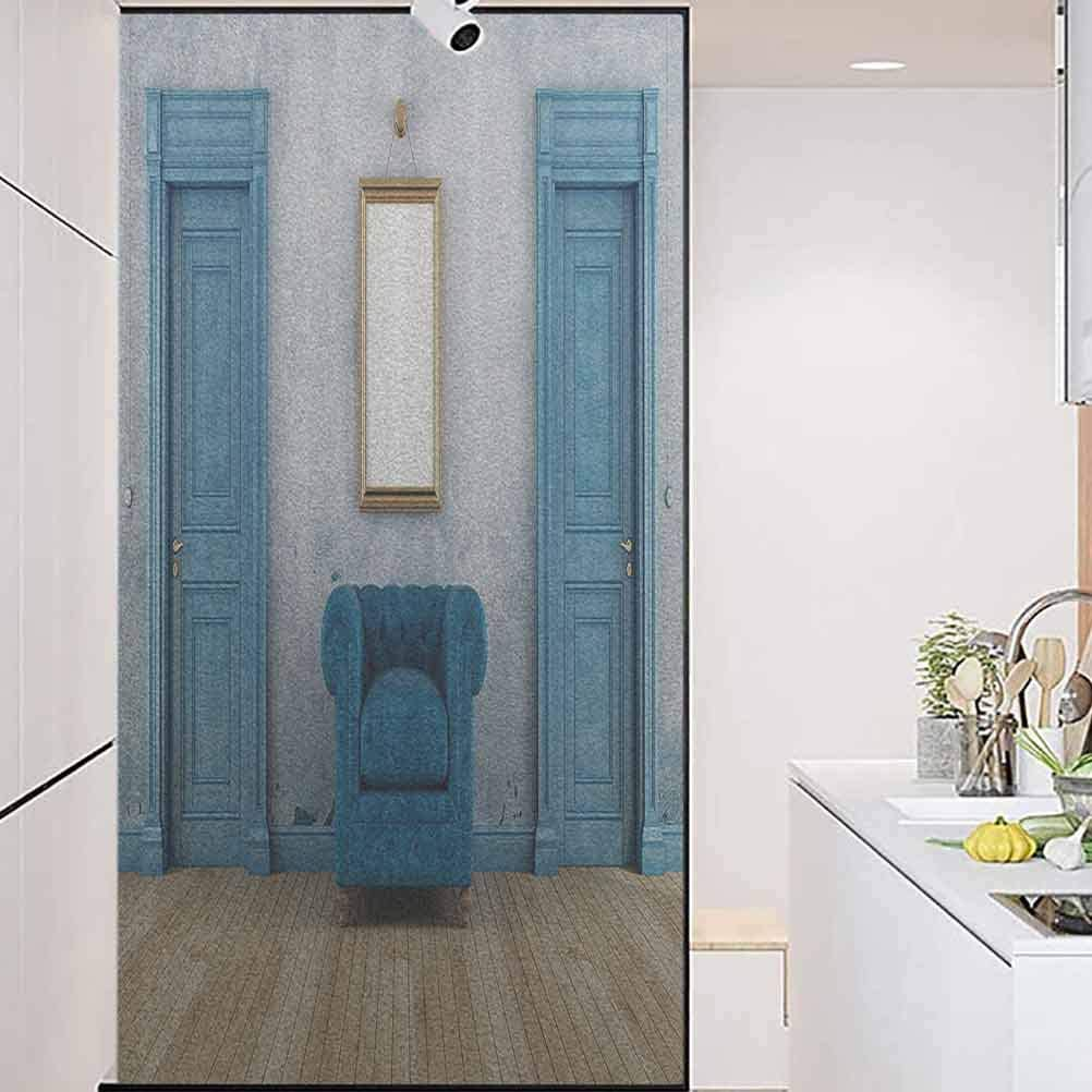 Self Adhesive UV Blocking Glass Film, Blue Antique Empty Room with Two Doors Armchair an, for Company Bathroom Door Glass Film Window Sticker, W23.6xH35.4 Inch
