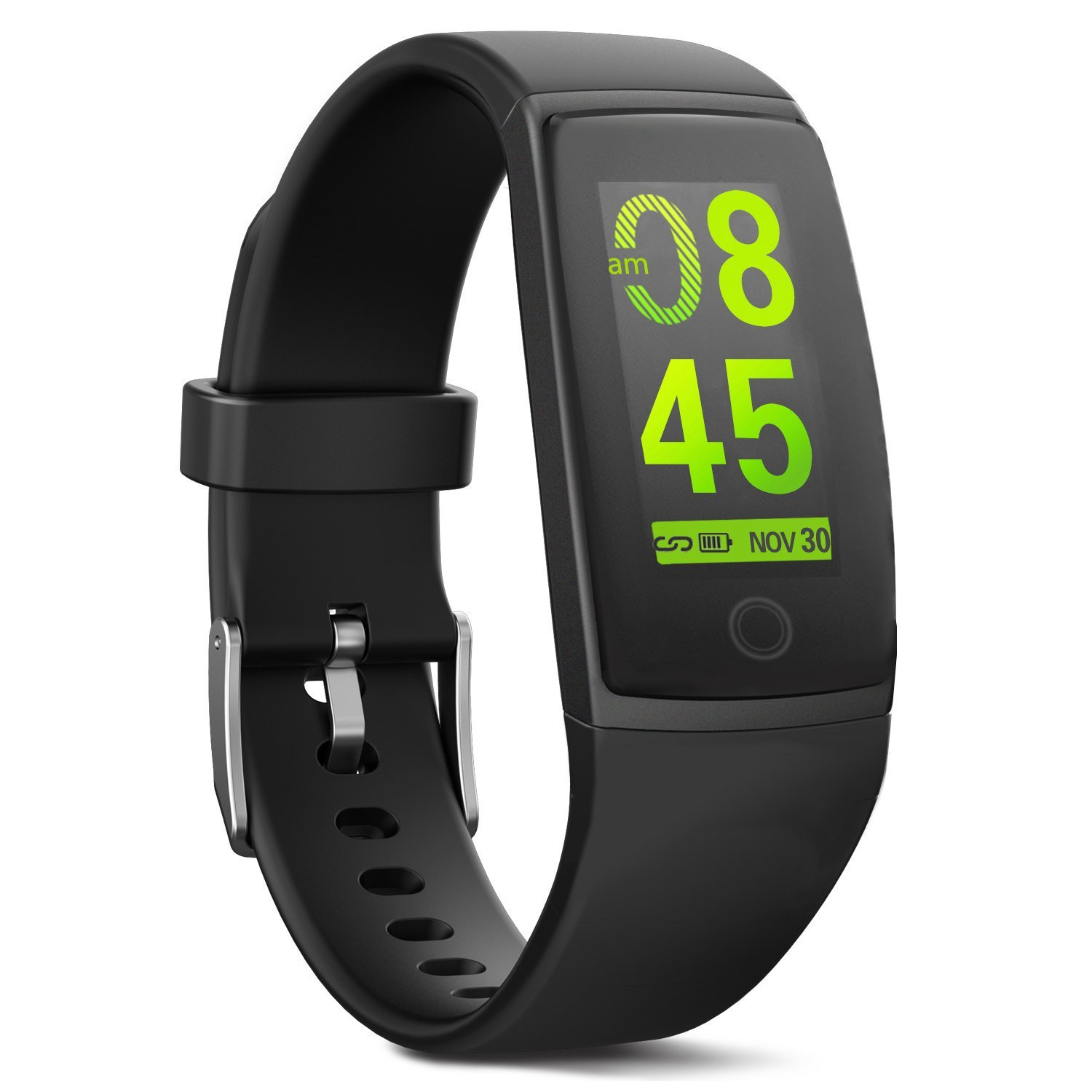 MorePro Waterproof Fitness Tracker, Color Screen Health Activity Tracker with Heart Rate Blood Pressure Monitor, Wearable Sport Pedometer Watch Calories Step Counter, Black