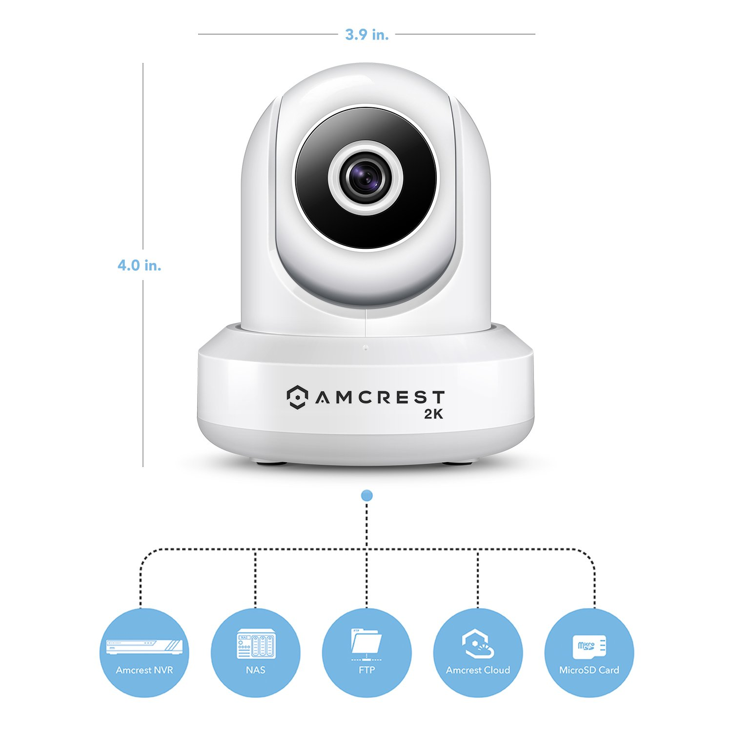 Amcrest UltraHD 2K WiFi Camera 3MP (2304TVL) Dualband 5ghz / 2.4ghz Indoor IP3M-941 (White) by Amcrest