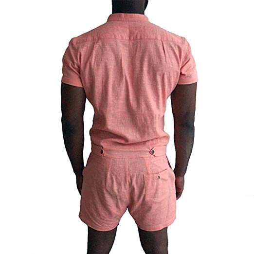 784eabc99b5c Hibote Summer Jumpsuit for Men Short Pants Rompers with Pockets Fashion  Short Sleeve Stand Collar Slim Fit Casual Overalls Playsuits Shorts   Amazon.co.uk  ...