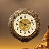 Western European art creative living room wall clock copper watch watch mute full bell