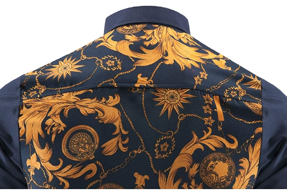 Highisa Mens Long-Sleeve Non-Iron Printing Button Up Luxury Dress Shirts