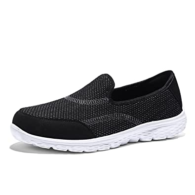 aa220fc0b565 Femme Chaussure Running Basket Mode sans Lacets Sneakers Loafers  Plate-Forme Respirante Tendance Noir 35