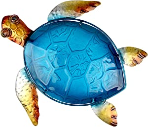 John's Studio Metal Turtle Wall Decor Bathroom Glass Art Iron Sculpture Outdoor Blue Hanging Decoration for Home Bedroom Garden Patio Porch or Fence
