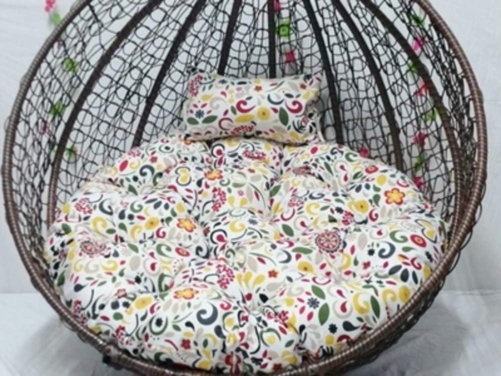 Printed Floral Cushion, Swing Chair Wicker Hanging Egg Rattan Chair Hammock Pad, Balcony Patio Garden-o 43x43inch