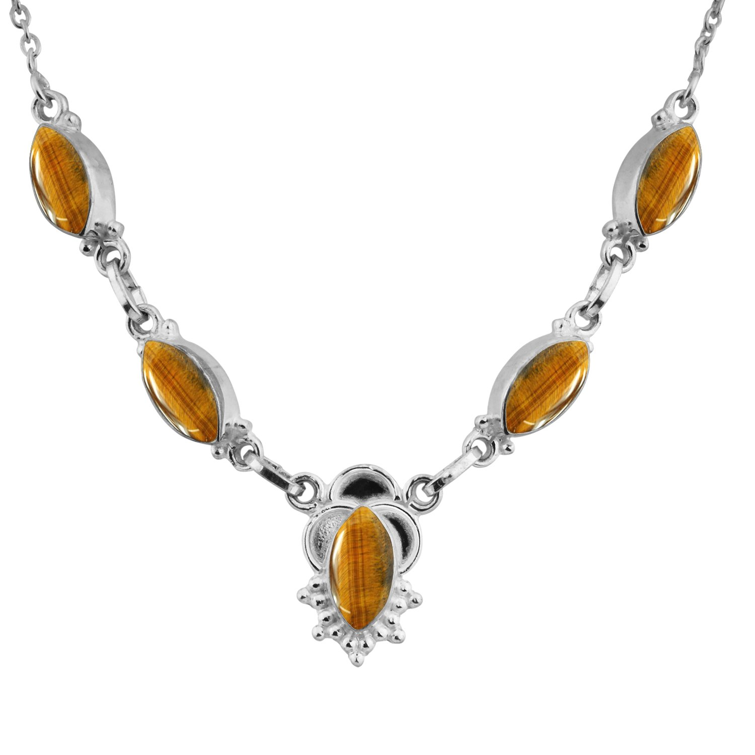 14.00ctw,Genuine Tiger Eye & 925 Silver Plated Necklace