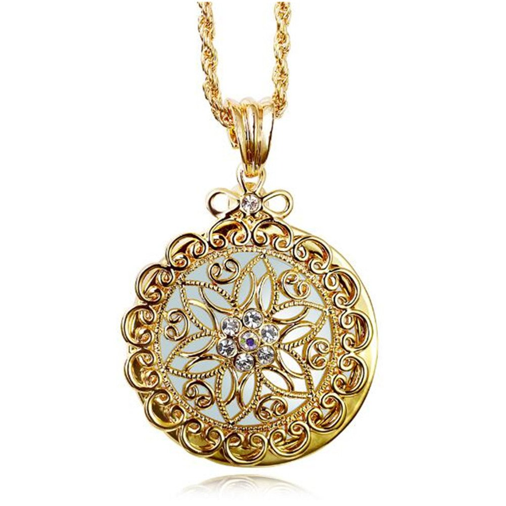 WaMLFac Luxury Long Golden Hollow Flower Retro Ornate Elegant Magnifying Glass Pendant Necklaces for Mothers Day