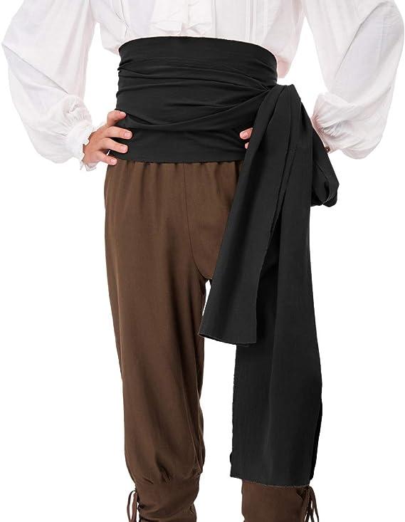 COSFLY Men Pirate Medieval Renaissance Large Sash Halloween Costume Waist Sash Belt Accessory