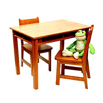 Lipper International 534P Childs Rectangular Table With Shelves And 2 Chairs Pecan Finish