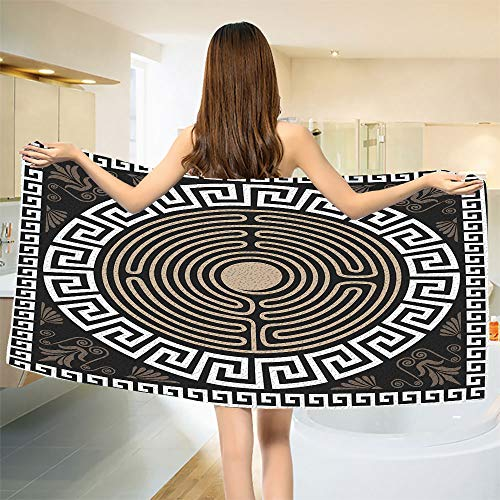 smallbeefly Greek Key Bath Towel Grecian Fret and Wave Pattern on Dark Background Antique Retro Swirls Bathroom Towels Dark Brown Coconut Tan Size: W 31.5
