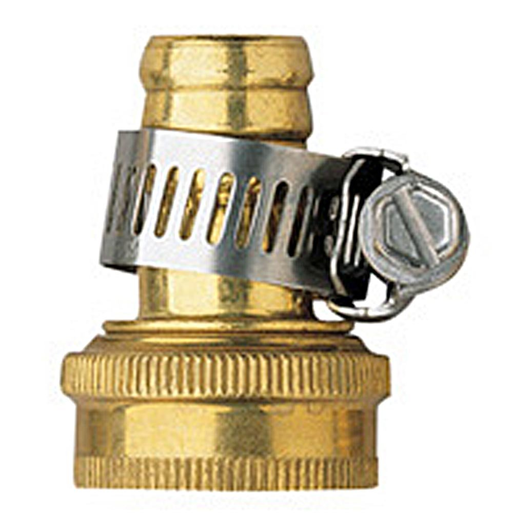 5 Pack - Orbit 5/8 Inch Brass Female Thread Shank Hose Mender with Clamp