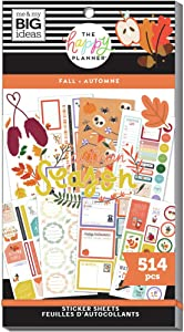 The Happy Planner Sticker Value Pack - Scrapbooking Supplies - Fall Season Theme - Multi-Color - Great for Projects, Scrapbooks & Albums - 30 Sheets, 514 Stickers Total