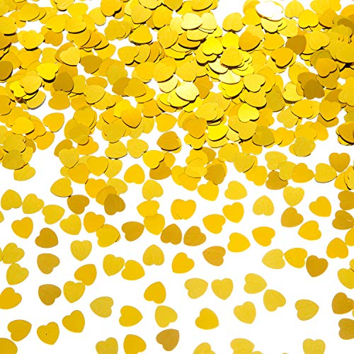 EMAAN Small Confetti Metal Foil Love Sequins, Cute Romantic Gold Heart Confetti, Embellished, Wedding Party Decorations and Table Decoration Diameter 10MM (Gold)