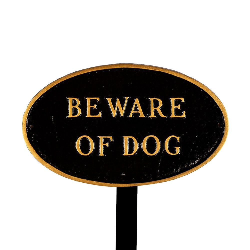 Montague Metal Products SP-5sm-BG-LS Small Black and Gold Beware of Dog Oval Statement Plaque with 23-Inch Lawn Stake