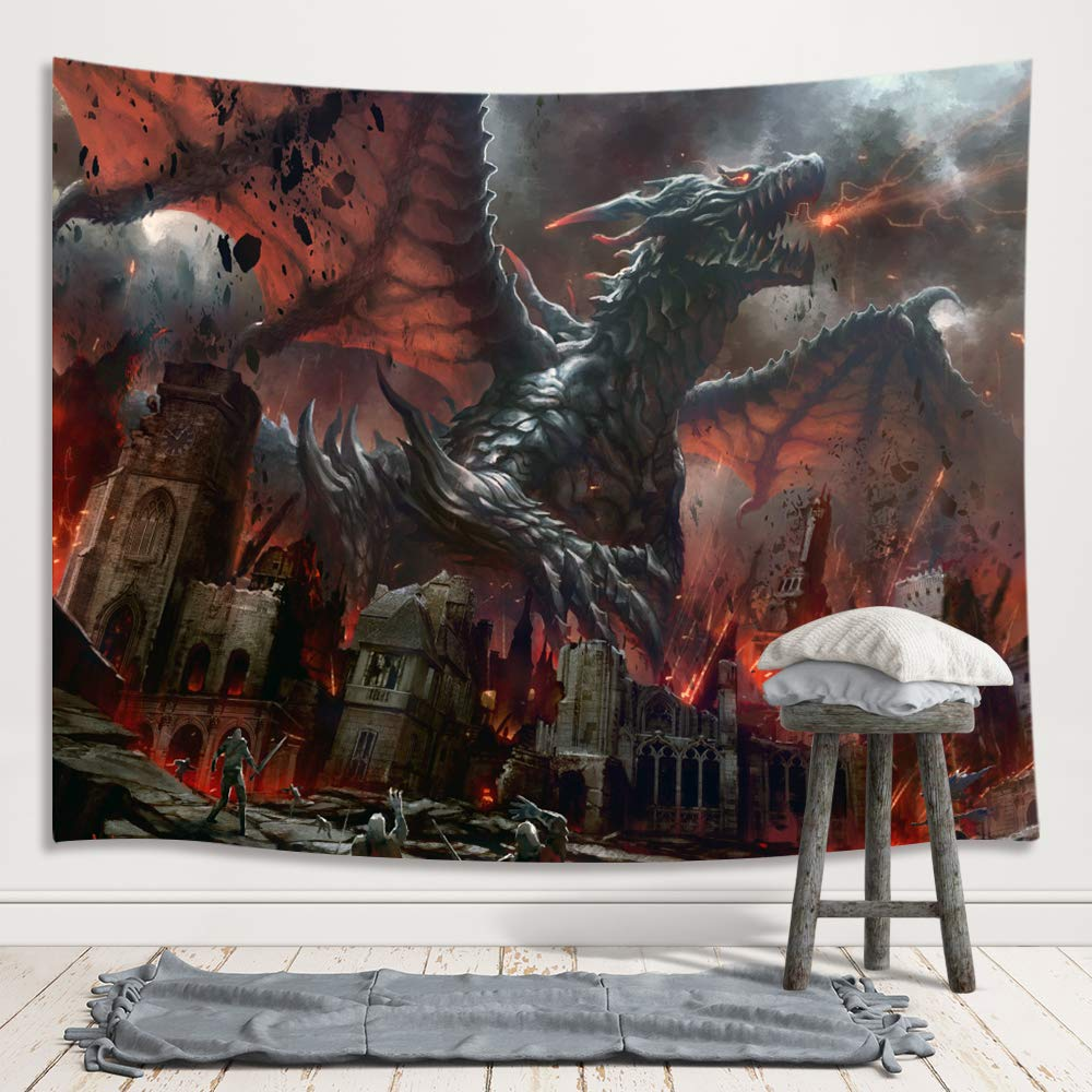 JAWO Fantasy World Tapestry Wall Hanging, Medieval Red Dragon and Human War Mythology Themed Art Tapestries Home Decoration Wall Decor for Bedroom Living Room College Dorm, 71X60 Inches